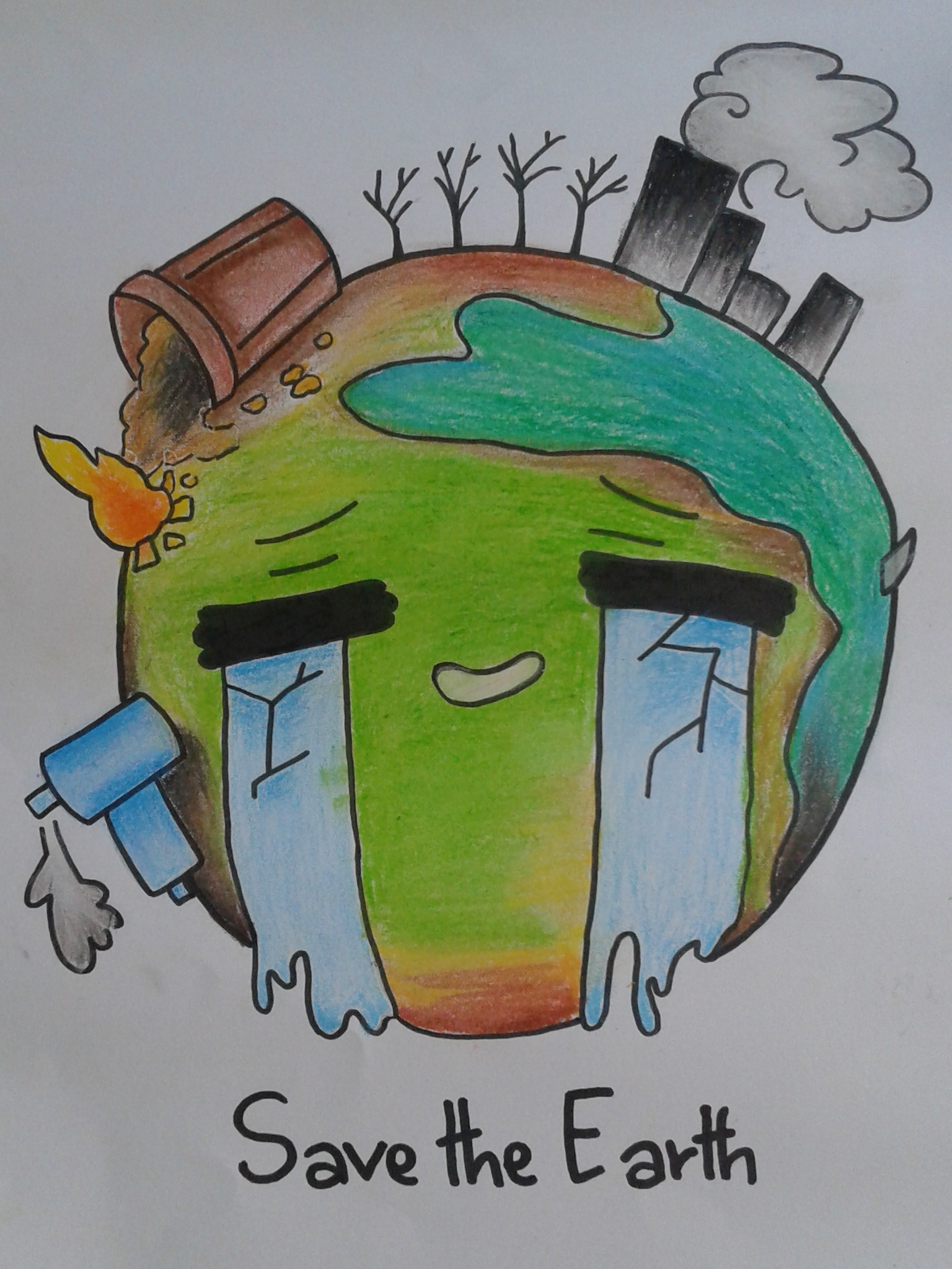 Save Mother Earth Drawing For Kids