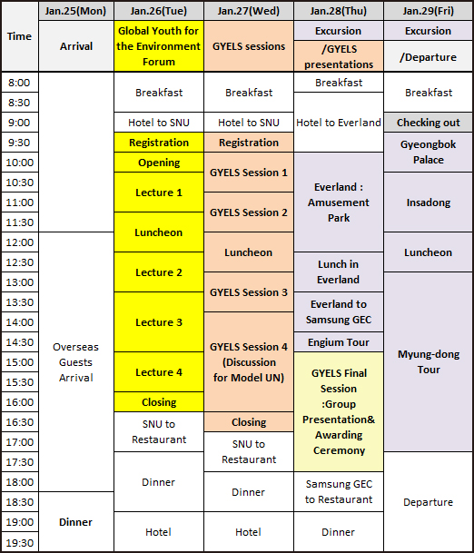 2016 GYELS time table