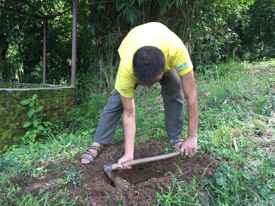 Me digging for plantation