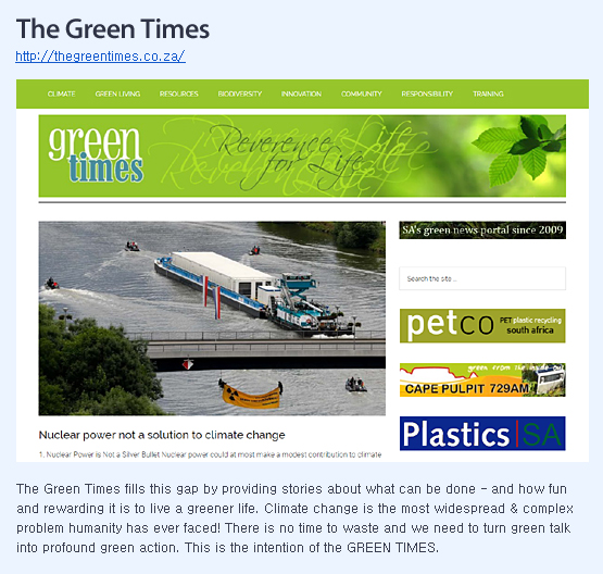 The Green Times fills this gap by providing stories about what can be done - and how fun and rewarding it is to live a greener life. Climate change is the most widespread & complex problem humanity has ever faced! There is no time to waste and we need to turn green talk into profound green action. This is the intention of the GREEN TIMES.