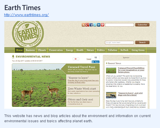 This website has news and blog articles about the environment and information on current environmental issues and topics affecting planet earth.