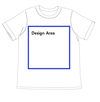 Design area for T-shirt design
