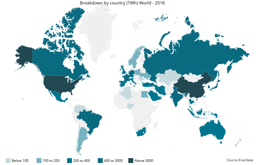 A map of the worldwide electricity consumption in 2018
