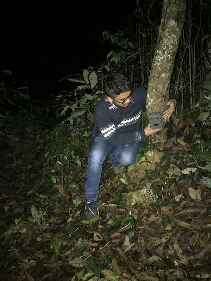 me, deploying camera traps in Jungle to explore the nocturnal wild species.