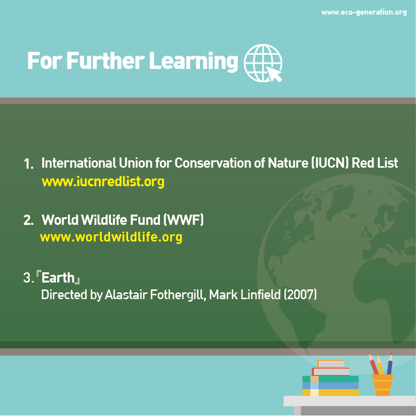 For further learning : IUCN Red list, WWF, Earth