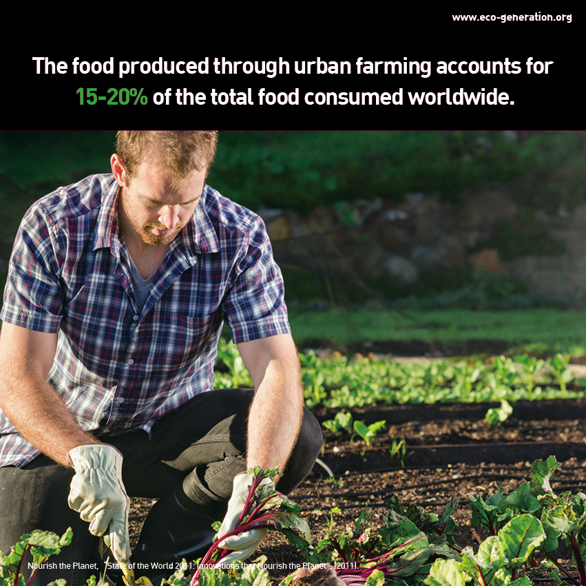 The food produced through urban farming account for 15-20% of the total food consumed worldwide.