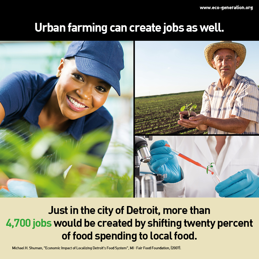 Urban farming can create jobs as well. Just in the city of Detroit, more thaqtn 4,700 jobs would be created by shifting 20% of food spending to local food.