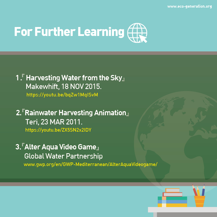 For further learning - Harvesting water from the sky, rainwater harvesting animation, alter qua video game