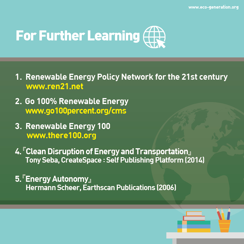 For Further Learning, visit www.ren21.net, go 100% renewable energy, renewable energy 100, etc.