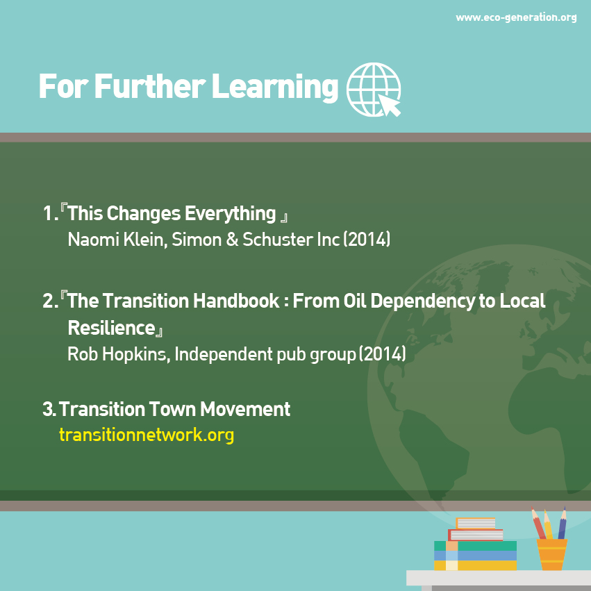 For further learning, please read <This changes everything> <The transitio nhandbook:from oil dependency to local resilience> <Transition Town Movement>