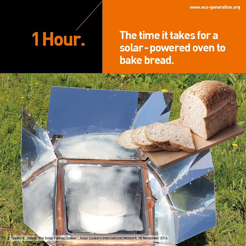 1 hourthe time it takes for a solar-powered oven to bake bread.