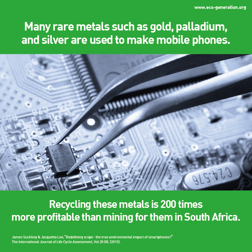 Many rare metals such as gold, palladium, and silver are used to make mobile phones. Recycling these metals is 200 times more profitable than mining for them in South Africa.