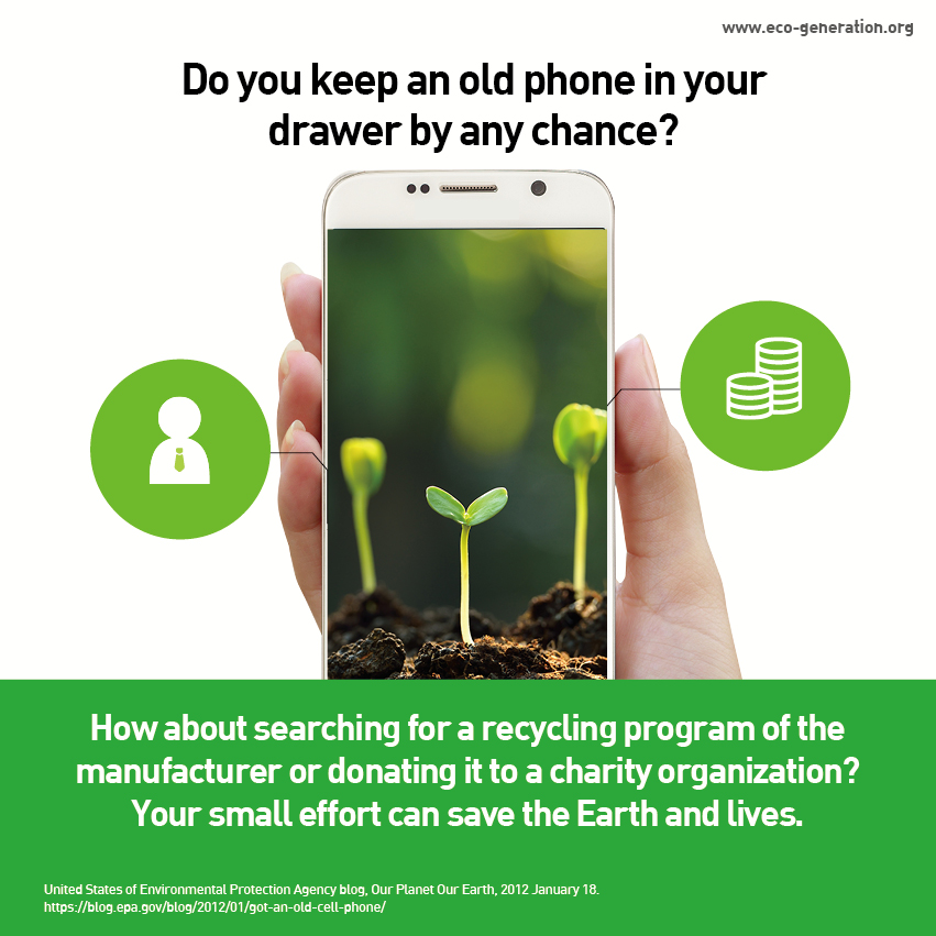 Do you keep an old phone in your drawer by any chance? How about searching for a recycling program of the manufacturer or donating it ot a charity organizations? You emall effort can save the Earth and lives.
