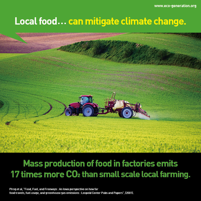 Local food...can mitigate climate change. Mass production of food in factories emits 17 times more CO2 than small scale local farming.