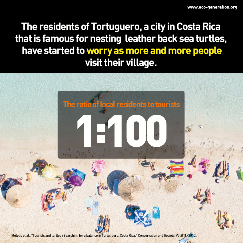 The residents of Tortuguero, a city in Costa Rica that is famous for nesting leather back sea turtles, have started to worry as more and more people visit their village. Ratio of local residents to tourists. 1:100