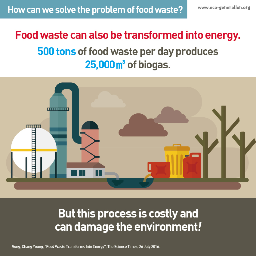 How can we solve the problem of food waste? Food waste can also be transformed into energy. 500 tons of food waste per day produces 25,000m3 of biogas. But this process is costly and can damage the environment!