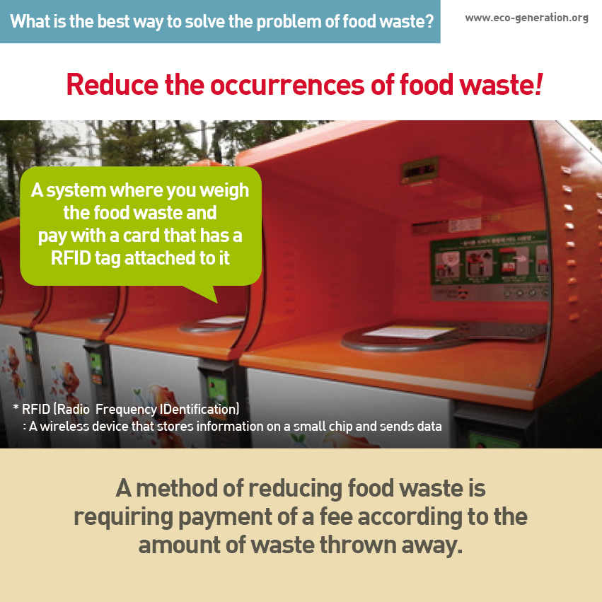 What is the best wat to solve the problem of food waste? Reduce the occurrences of food waste! A method of reducing food waste is requiring payment of a fee accrding to the amount of waste thrown away.