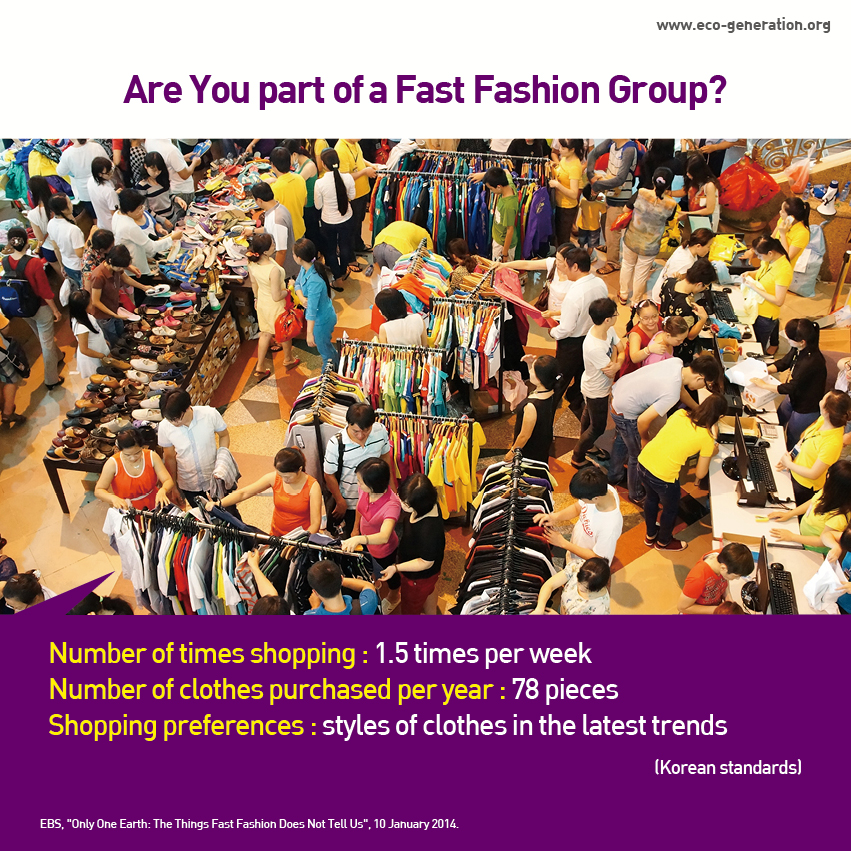 Are you part of a fast fashion group? Number of times shopping:1.5 times per week, number of clothes purchasing per year:78 pieces, shopping preferences:styles of clothes in the latest trends
