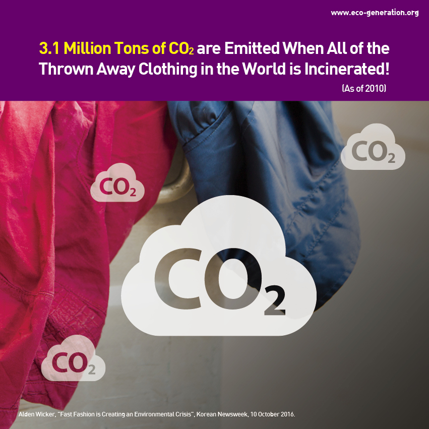 3.1 million tons of CO2 are emitted when all of the thrown aware clothing is the world is incinerated!