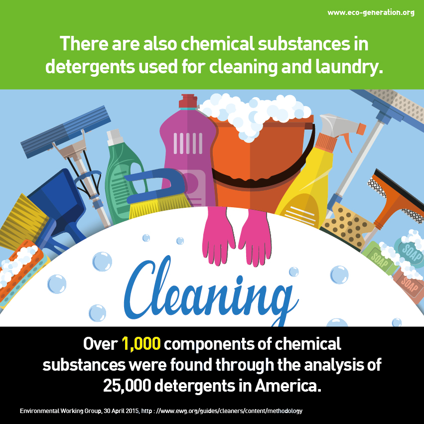 There are also chemical substances in detergents used for cleaning and laundry. Over 1000 components of chemical substances were found through the analysis of 25000 detergents in America.