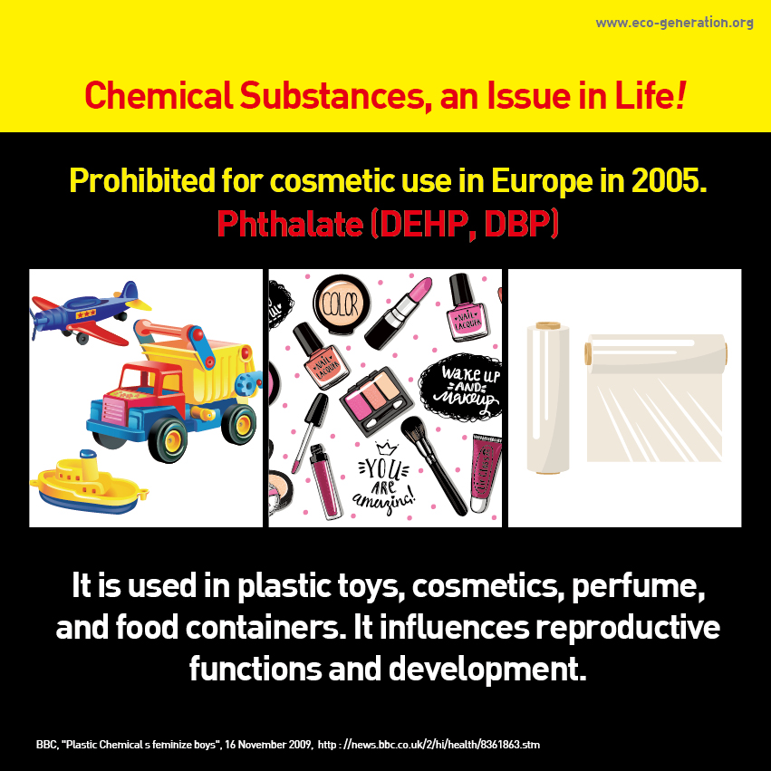 Chemical Substances, an Inssue in Life! Prohibited for cosmetic use in Europe in 2005. Phthalate (DEHP, DBP) It is used in platic toys, cosmetics, perfume, and food containers. It influentces reproductive functions and development.