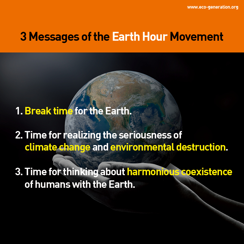 3 messages of the Earth Hour Movement. 1. Break time for the Earth. 2. Time for realizing the seriousness of climate change and environmental destruction. 3. Time for thinking about harmounious coexistence of humans with the Earth.