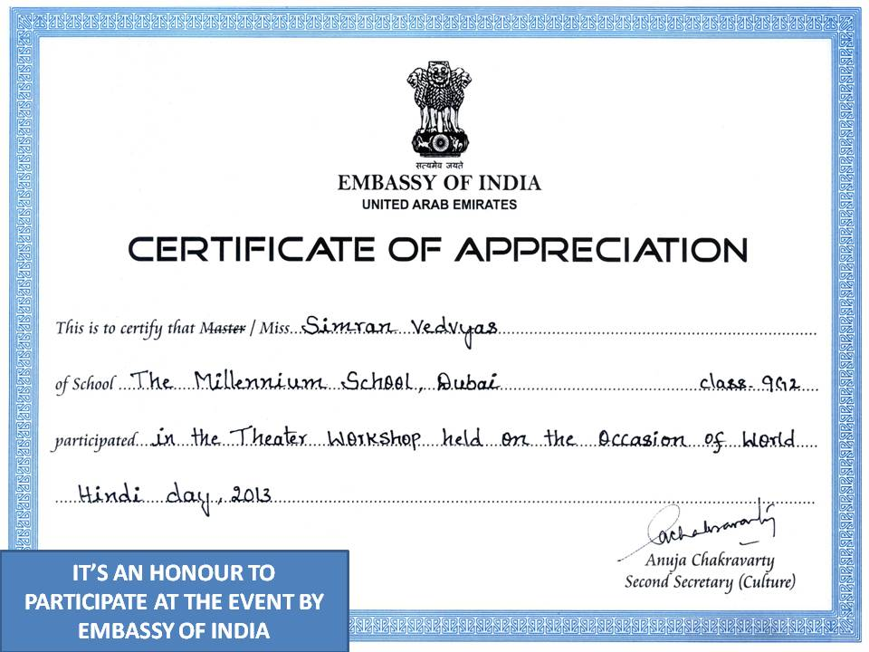 Appreciation by embassy of india awarded to simran vedvyas null null null yelopaper Choice Image